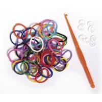 Szilikongumi karkötő készlet - 200 darabos - vegyes színek