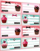 Füzetcímke íves, Candy Store-cupcake