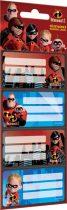 Füzetcímke 12 db-os, The Incredibles 2, Mix