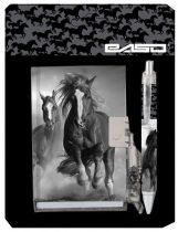 Lovas napló kulccsal golyóstollal, 10,5x7,5 cm, fekete-fehér, Paso