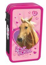 Rózsaszín lovas emeletes töltött tolltartó