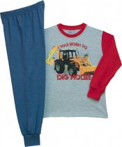 Munkagépes fiú hosszú ujjú pizsama